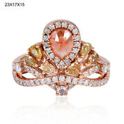 Natural Ice Diamond Solid 18k Rose Gold Crown Ring Designer Jewelry