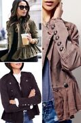 Free People Ruffle Hem Military Jacket Double Breasted Peplum Button Up Ob480752