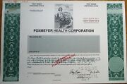 And039foxmeyer Health Corporationand039 Specimen Stock Certificate - Health Care Green