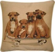 Staffordshire Bull Terrier Puppies On Skateboard Woven Tapestry Cushion Cover