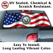 Wavy Us Flag Dept. Of Navy Back Window Graphic Perforated Film Decal Truck Decal