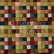 Heavyweight Green Multi Coloured Patchwork Pattern Chenille Upholstery Fabric