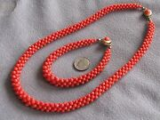 Victorian Antique Woven Natural Italian Red Coral Bead Necklace And Bracelet