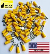300x Vinyl Female Quick Disconnect Wire Terminals Yellow 12-10 Awg Connectors