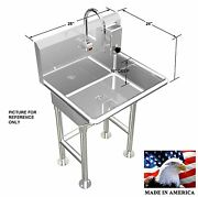 Hand Wash Sink Single Station 28 Electronic Faucet Free Standing Made In Usa