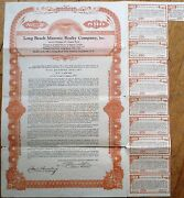 And039long Beach Masonic Realty Co. Inc.and039 1927 Stock/bond Certificate - New York Ny
