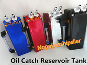 Square Style Red Billet Aluminum Engine Oil Catch Reservoir Breather Tank Can