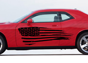 Distressed Flag Graphic Decal -side Body Fits Any Car Dodge American Flag Usa D1