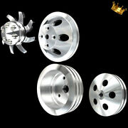 Billet Small Block 4 Pulley Set Fits Sb Chevy 350 383 400 With Long Wp Ac And Ps