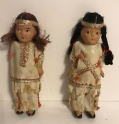 Vintage 1930and039s Pair Of 5 Small Native American Indian Composition Dolls