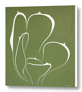 Succulent In Green 30x30 Original Abstract Art Acrylic Painting Large Canvas