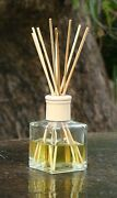 Suede And Musky Vetiver Scented Diffuser Rattan Aroma Reeds In A Heavy Glass Jar
