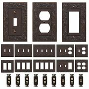 Oil Rubbed Bronze Wall Switch Plate Outlet Covers Ornate Floral Metal Wallplates