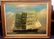 Pommern 1938 Tall Mast Sailing Ship Beautiful Painting Fine Artist Great Frame