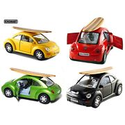 Set Of 4 5 Volkswagen New Beetle With Surfboard 132 Scale Diecast Toy Model
