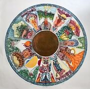 Holiday Circle Large Copper Plated And Embossed Etching By Ebgi