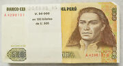 Lot Of 100 1987 Peru 500 Intis Note Fr134b Xf-au Sequential Serial Numbers 13