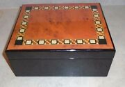 Wooden Humidor Cigar Box With Colorful Patterned Top