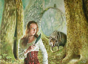 31 Fantasy Red Riding Hood Fairy Tale Teen Girl Forest Bad Wolf Knife Painting