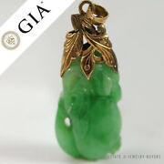 Gia Certified Natural Green Jadeite Jade Carved Yellow Gold Pendant