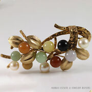 Mingand039s Hawaii Multi-color Jade Cluster 14k Yellow Gold Brooch