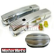 Sbc Chevy Nostalgic Aluminum Finned Tall Valve Covers And 12 Air Cleaner Dress Up