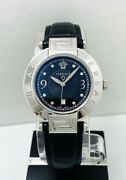 Versace Womenand039s 68q99sd009s009 Reve Black Dial Diamonds Blk Leather Strap Watch