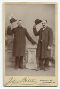 Two Men Tipping Bowler Hats. Allegheny Pittsburgh Pa. Cabinet Card.