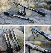 Plusinno Telescopic Fishing Rod Retractable Pole Aluminum Saltwater Travel