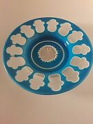 19th Century American Triple Overlay Glass Turquoise Candy Dish