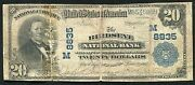 1902 20 The Birdseye National Bank Of Indiana National Currency Ch. 8835 Rare