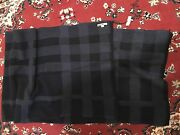 100 Authentic Check Plaid Soft Wool Blanket Scarf 21x80 Navy Blue. New