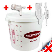 30 Litre Fermenting / Fermentation Bucket Vessel With Airlock Home Brew Beer Uk