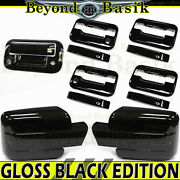 2009-2014 Ford F150 Gloss Black Door Handles+mirrors Nots+tailgate W/ Cam Covers