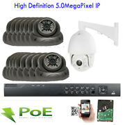 Hd 16ch Nvr 5mp 2592p Dome Ptz Poe Ip Onvif Ip66 Security Camera 4tb Hdd System