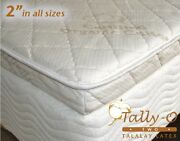 New Fullxl Tally-o Talalay Mattress Pad With Quilted Organic Cotton Cover 53x80