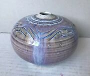 "Signed Bottom Mid Century Modern Pottery Purple Weed Pot Vase 4"" Diameter"