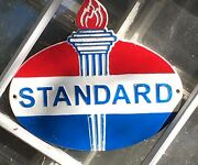 Standard Gasoline Oil Dealerand039s Wall Mounted Plaque Sign Cast Iron W Torch 10