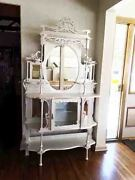 Pearl White Wood Ornate Antique Etagere Open Display Shelves And Mirror Cabinet