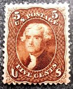 Buffalo Stamps Scott 75 1861 Jefferson Red/brown Mint H/og And Vf Cv = 5750