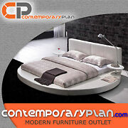 Contemporary White Leather Headboard Round Bed - Queen Size Modern Circle Design