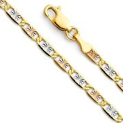 14k Solid Tricolor Gold Valentino Star Chain 1.5-6mm Men Women Necklace Italy