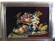 Hand Made All Natural Fruit In Vase Carpet Picture From Wool And Silk