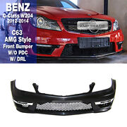 C63 Amg Style Front Bumper W/ Drl W/o Pdc For Mercedes Benz 2012-14 C Class W204