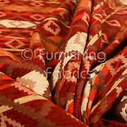 Modern Small Kilim Aztec Pattern Orange Red Chenille Curtain Upholstery Fabric