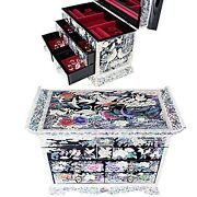 Antique Jewelry Box Mother Of Pearl Women Gift Item 4drawers Organizer D403q