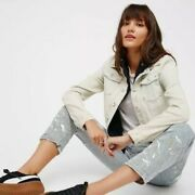 Free People Distressed Denim Jacket Hooded Layered Double Weave Faded Teen Wolf