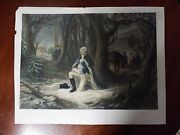 Original 1866 Antique Print - 18 X 24 - Prayer At Valley Forge In Color