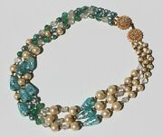 Murano Venetian Glass Bead Pearl Faceted Crystal 3 Strand Necklace Ornate Clasp