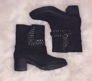 Nwot Vince Camuto Black Leather Studded Women's Boots 7.5
